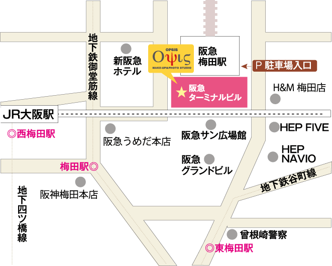 オプシス大阪梅田の地図